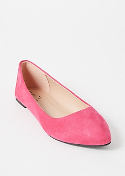 Pink Faux Suede Basic Flats