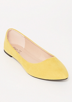 Mustard Faux Suede Basic Flats