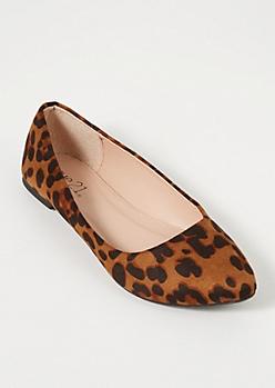 Leopard Print Faux Suede Basic Flats