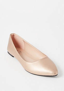 Rose Gold Faux Leather Basic Flats