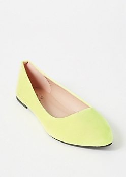 Neon Yellow Faux Suede Basic Flats