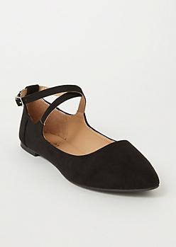 Black Crisscross Ballet Flats