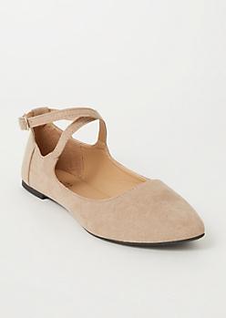 Taupe Crisscross Ballet Flats