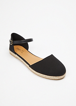 Black Closed Toe Flatform Espadrille Sandals