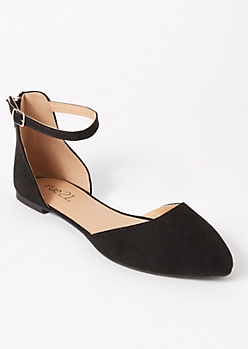 Black Ankle Strap Pointed Flats