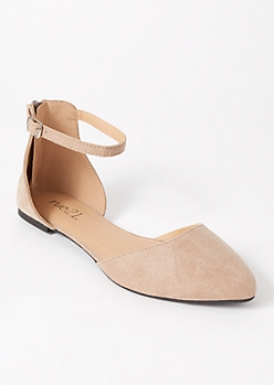 Taupe Ankle Strap Pointed Flats