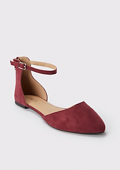 Burgundy Ankle Strap Pointed Flats