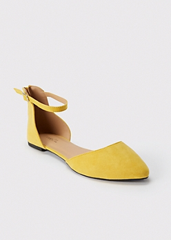 Yellow Ankle Strap Pointed Flats