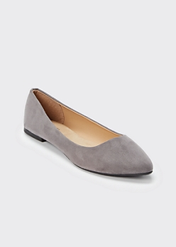Gray Pointed Toe Flats