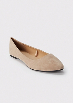 Taupe Pointed Toe Flats