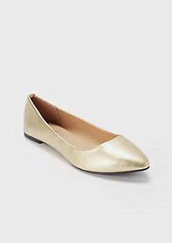 Gold Metallic Pointed Toe Flats