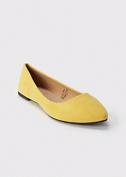 Yellow Pointed Toe Flats