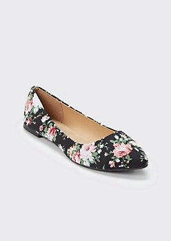 Black Floral Print Pointed Toe Flats