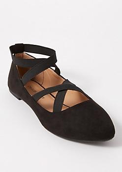 Black Crisscross Faux Suede Ballet Flats