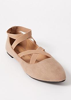 Tan Crisscross Faux Suede Ballet Flats