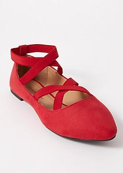 Red Crisscross Faux Suede Ballet Flats