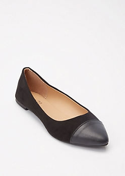 Black Pointy Toe Cap Toe Flats
