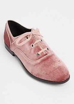 Pink Velvet Lace Up Flats