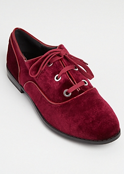 Burgundy Velvet Lace Up Flats