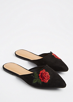 Black Embroidered Rose Faux Suede Mules