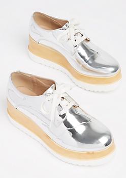 Silver Metallic Oxford Platform Shoes