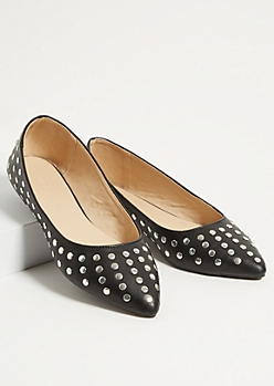 Black Studded Faux Leather Pointed Toe Flats