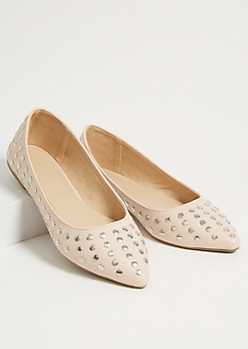 Pink Studded Faux Leather Pointed Toe Flats