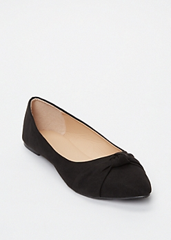 Black Knotted Pointy Toe Flats