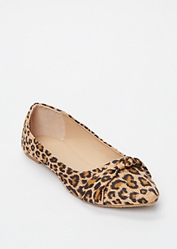 Leopard Print Knotted Pointy Toe Flats