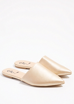 Metallic Gold Pointed Toe Slip On Mules