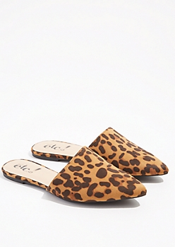 Leopard Print Pointed Toe Slip On Mules