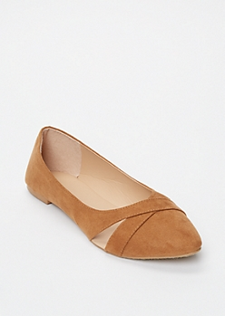 Tan Cutout Crisscross Flats