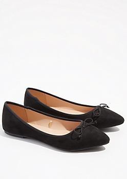 Black Bow Pointed Toe Flats
