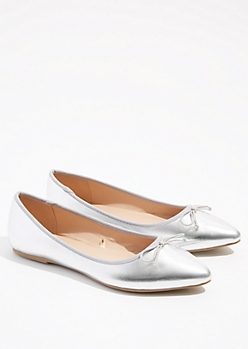 Metallic Silver Bow Pointed Toe Flats
