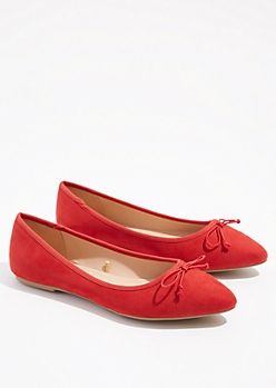 Red Bow Pointed Toe Flats