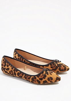 Leopard Print Bow Pointed Toe Flats