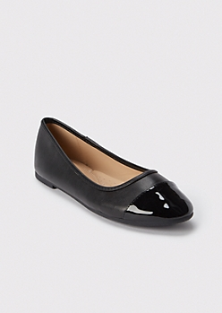 Black Faux Leather Toe Cap Flats