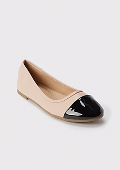 Taupe Faux Leather Toe Cap Flats