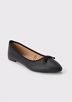 Black Faux Leather Pointed Flats