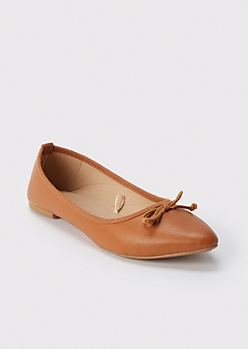 Camel Faux Leather Pointed Flats
