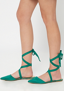 Green Backless Lace Up Flats