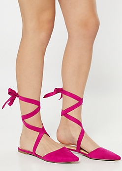 Fuchsia Backless Lace Up Flats