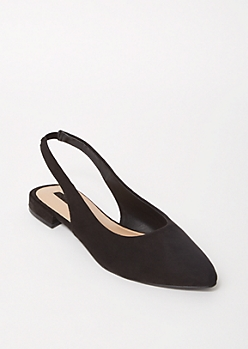 Black Pointed Toe Slingback Flats