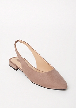Gray Pointed Toe Slingback Flats