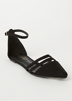 Black Faux Suede Cutout Toe Flats