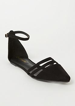 Black Faux Suede Cutout Toe Flats