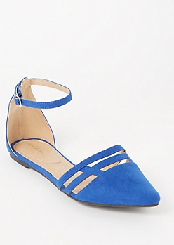 Blue Faux Suede Cutout Toe Flats