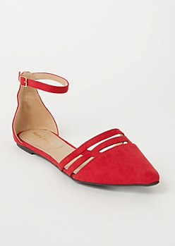 Red Faux Suede Cutout Toe Flats