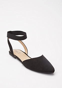 Black Pointy Toe Ankle Strap Flats