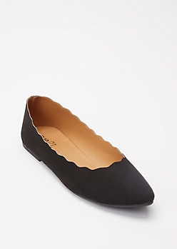Black Pointy Toe Scalloped Flats